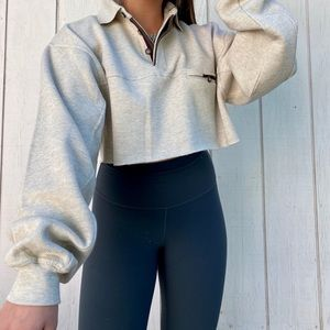 crop vintage cream long sleeve polo pullover